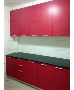 ชุดครัว Built-in ตู้ล่าง โครงซีเมนต์บอร์ด หน้าบาน Melamine สีแดงด้าน