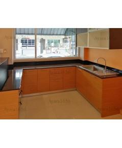 ชุดครัว Built-in ตู้ล่าง โครงซีเมนต์บอร์ด หน้าบาน Melamine สี Teak ลายไม้ลายนอน + Graphite