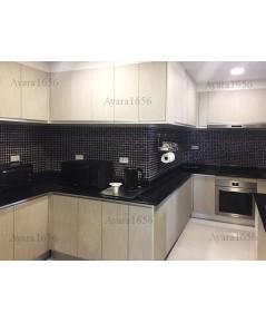 ชุดครัว Built-in ตู้ล่าง โครงซีเมนต์บอร์ด หน้าบาน Laminate สี Smoke Strand