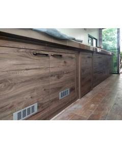 ชุดครัว Built-in ตู้ล่าง + วงกบ โครงซีเมนต์บอร์ด หน้าบาน Melamine สี Woodland Oak ลายไม้แนวนอน