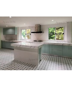 ชุดครัว Built-in ตู้ล่าง โครงซีเมนต์บอร์ด หน้าบาน Hi Gloss สีเขียวพาสเทล