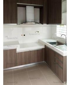 ชุดครัว Built-in ตู้ล่าง โครงซีเมนต์บอร์ด หน้าบาน Laminate สี Cinnamon Ash - ม.ชัยพฤกษ์