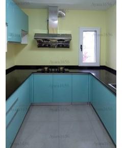 ชุดครัว Built-in ตู้ล่าง โครงซีเมนต์บอร์ด หน้าบาน Hi Gloss สีฟ้า