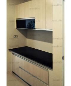 ชุดครัว Built-in ตู้ล่าง โครงซีเมนต์บอร์ด หน้าบาน Melamine สี Rijeka Oak ลายไม้แนวตั้ง - ม.Centro