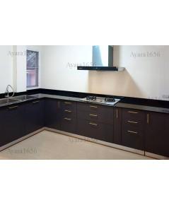ชุดครัว Built-in ตู้ล่าง โครงซีเมนต์บอร์ด หน้าบาน Laminate สี Battalon