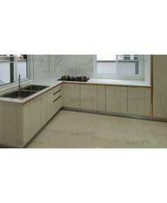 ชุดครัว Built-in ตู้ล่าง + ตู้สูงด้านล่าง โครงซีเมนต์บอร์ด หน้าบาน Melamine สี Cassia Siamea