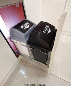 ถังขยะพลาสติกคู่สีเทา พร้อมฝาปิดสีดำ รุ่นติดหน้าบานดึง (TLS-006B-30 + Lid)
