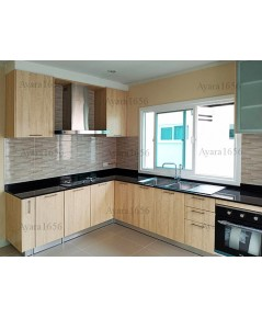 ชุดครัว Built-in ตู้ล่าง โครงปาติเกิล หน้าบาน Melamine สี Light Walnut - ม.ศุภาลัย พาร์ควิลล์