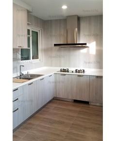 ชุดครัว Built-in ตู้ล่าง โครงซีเมนต์บอร์ด หน้าบาน Melamine สี Oak ลายไม้