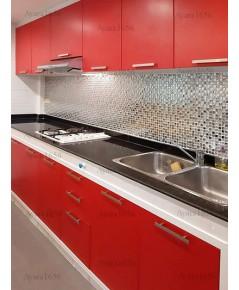 ชุดครัว Built-in ตู้ล่าง โครงซีเมนต์บอร์ด หน้าบาน Melamine สีแดง