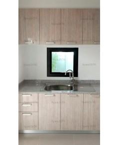 ชุดครัว Built-inตู้ล่าง โครงซีเมนต์บอร์ด หน้าบาน PVC ลายไม้ - ม.คณาสิริ