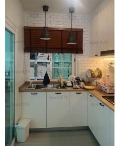 ชุดครัว Built-in ตู้ล่าง โครงซีเมนต์บอร์ด หน้าบานไม้ พ่นสีครีมด้าน