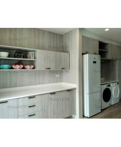 ชุดครัว Built-in ตู้ล่าง โครงซีเมนต์บอร์ด หน้าบาน Melamine สี Oak - ม.ลัดดารมย์