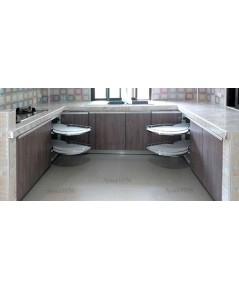 ชุดครัว Built-in ตู้ล่าง โครงซีเมนต์บอร์ด หน้าบาน Melamine สี Oak + Mable