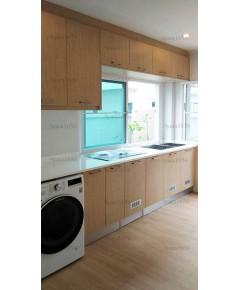 ชุดครัว Built-in ตู้ล่าง โครงซีเมนต์บอร์ด หน้าบาน Laminate สี Yellowish Ash-ม.ศุภาลัย การ์เด้น วิลล์
