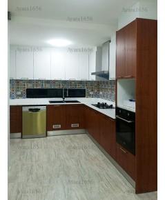 ชุดครัว Built-in ตู้ล่าง โครงซีเมนต์บอร์ด หน้าบาน Melamine สี Pop Walnut + Oak - ม.คาซ่า วิลล์