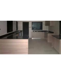 ชุดครัว Built-in ตู้ล่าง โครงซีเมนต์บอร์ด หน้าบาน Melamine สี Oak