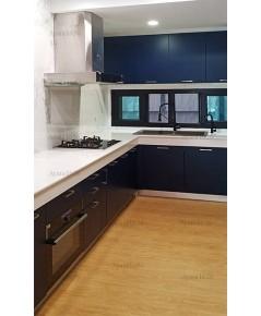 ชุดครัว Built-in ตู้ล่าง โครงซีเมนต์บอร์ด หน้าบาน พ่นสีดำด้าน