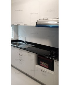 ชุดครัว Built-in ตู้ล่าง โครงซีเมนต์บอร์ด หน้าบาน Melamine สีขาวด้าน  - ม.Indy