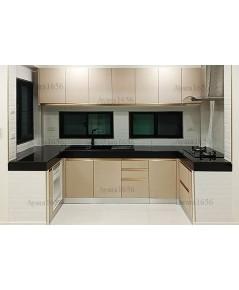ชุดครัว Built-in ตู้ล่าง โครงซีเมนต์บอร์ด หน้าบาน Melamine สี Grain