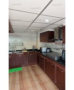 ชุดครัว Built-in ตู้ล่าง โครงซีเมนต์บอร์ด หน้าบาน Melamine สี Wallnut
