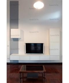 ตู้ TV โครงปาติเกิล หน้าบาน Melamine สีขาวด้าน