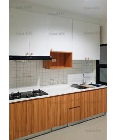 ชุดครัว Built-in ตู้ล่าง โครงซีเมนต์บอร์ด หน้าบาน Melamine ลายไม้ + สีขาวด้าน