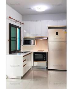 ชุดครัว Built-in ตู้ล่าง โครงซีเมนต์บอร์ด หน้าบาน Melamine สีขาวเงา - ม.พฤกษาไพร์ม