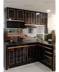 ชุดครัว Built-in ตู้ล่าง โครงซีเมนต์บอร์ด หน้าบาน Laminate สี Black Paladina