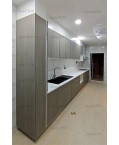 ชุดครัว Built-in ตู้ล่าง โครงซีเมนต์บอร์ด หน้าบาน Laminate สี Weathered Ash