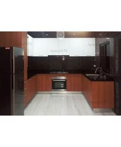 ชุดครัว Built-in ตู้ล่าง โครงซีเมนต์บอร์ด หน้าบาน Melamine ลายไม้ + Hi Gloss สีขาวเงา