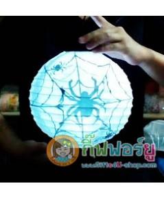1 อัน Gifts4u-shop Lantern halloween โคมไฟฮาโลวีน ลายแมงมุม สีขาว โคมไฟแขวน โคมไฟกระดาษ LED