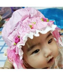 หมวกเด็กติดลูกไม้ (สีชมพู)