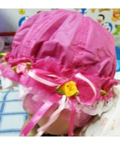 หมวกเด็กติดลูกไม้ (สีบานเย็น)
