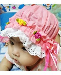หมวกเด็กติดลูกไม้ (สีโอรส)