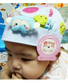 หมวกเด็กติดตุ๊กตาลิง (สีฟ้า)