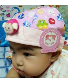 หมวกเด็กติดตุ๊กตาลิง (สีชมพู)