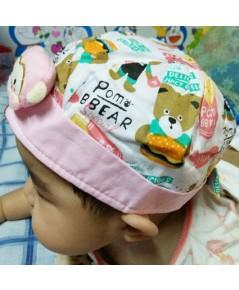หมวกเด็กติดตุ๊กตาลิง (สีขาว)