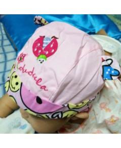 หมวกเด็ก ปักลายเต่าทอง (สีชมพู)