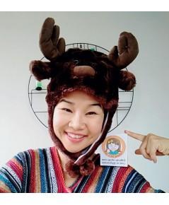 หมวกแฟนซี หมวกหัวสัตว์ หมวกมาสคอต หัวกวางเรนเดียร์ (น้ำตาลเข้ม)