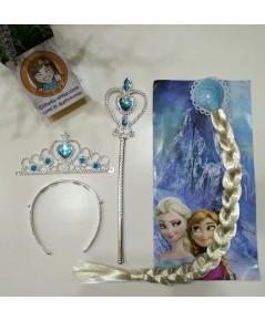 กิ๊บผมเปียเอลซ่า Elsa Frozen wig+มงกุฎ+คฑา (สีเงิน)