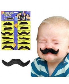 12 อัน Mustache หนวดเคราปลอมสีดำ แต่งหน้าคอสเพล การแสดง ปาร์ตี้ ปีใหม่ ฮาโลวีน