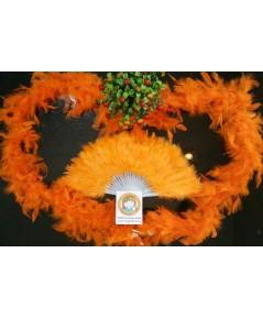 Set 2 ชิ้น สีส้ม พัดขนนก 1 อัน + ขนนกเส้น 1 เส้น