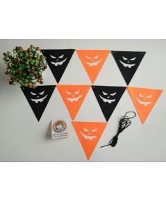 1 เส้น ลายหน้ายิ้ม ธงราวผ้า ธงแขวน ธงราวสามเหลี่ยม ธงฮาโลวีน ธง D.I.Y. Halloween ยาว 3 เมตร