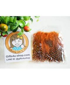 1 ถุง ลายจุด สีส้ม ขนเป็ดย้อมสี ขนนกย้อมสี ขนไก่ย้อมสี ขนเฟอร์ สำหรับงานประดิษฐ์ ดีไอวาย DIY