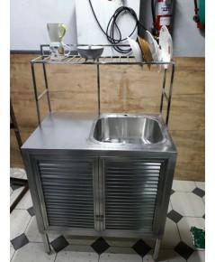 ซิ้งค์ ล้างจานแบบเคาร์เตอร์ สแตนเลส มีที่วางจาน แถม ตะแกรง สแตนเลส 1อันขายถูกๆ