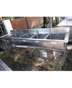 ซิ้งค์ล้างจาน4หลุม สแตนเลส หนา หลุมลึก30cm ขายถูก อุปกรณ์ครบพร้อมใช้งาน