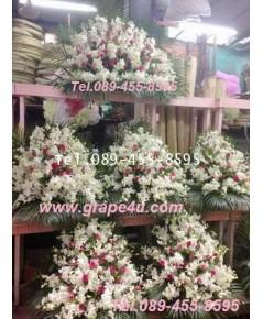 ดอกไม้หน้าหีบศพโทนขาวชมพู  30/3 **เน้นดอกกุหลาบดอกกล้วยไม้