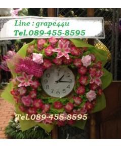 พวงหรีดนาฬิกาโทนชมพูเขียว WT049
