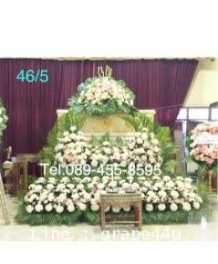 ดอกไม้หน้าหีบศพแบบสวน 2 ชั้นเขาโค้ง โทนสีขาวชมพู46/5